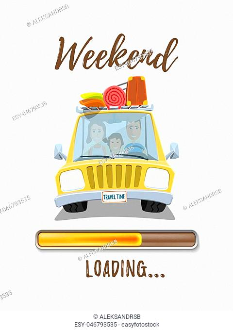 Holidays loading poster template with yellow car and happy family inside isolated on white background. Vector illustration
