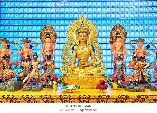 CANADA, SCARBOROUGH, 24.05.2015, Large gold plated statue of the Medicine Buddha (Bhaisajyaguru) on a shrine at the Jing Yin Buddhist Temple in Scarborough