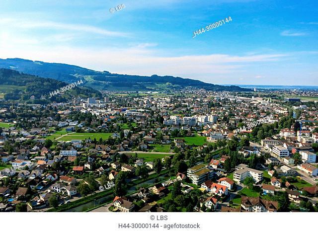 Luftaufnahme Ortschaft Heerbrugg und Widnau
