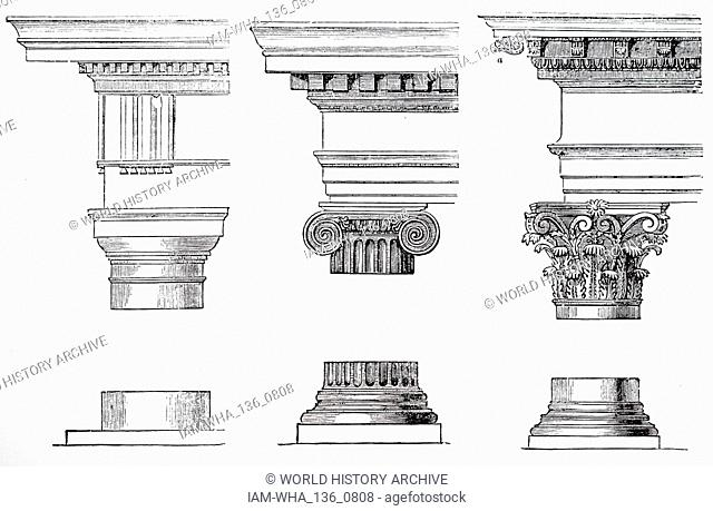 A collection of three orders of Greek architecture. Left to right: Doric, Ionic, Corinthian. Dated 19th century