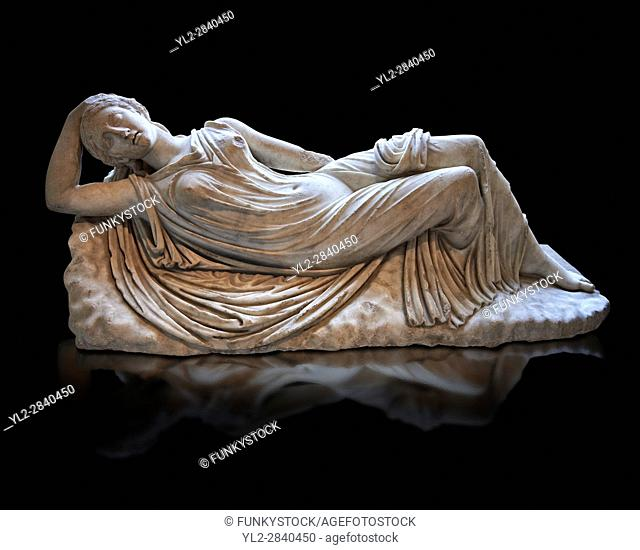 Ariadne sleeping a 2nd century AD Marble Roman statue from Italy. The girl is lying asleep on a rock and is a variation of the famous Sleeping Ariadne of the...