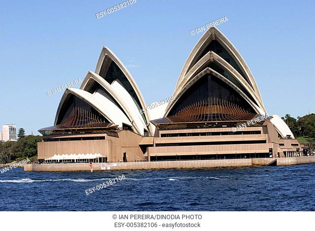Unusual angle of Opera House ; Sydney ; Australia