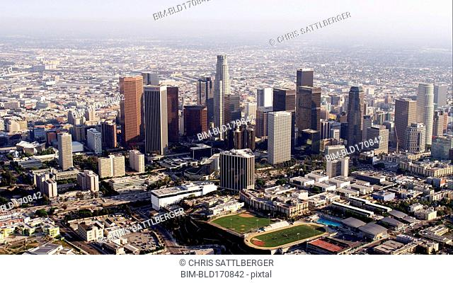 Aerial view of highrise buildings in downtown Los Angeles, California, United States