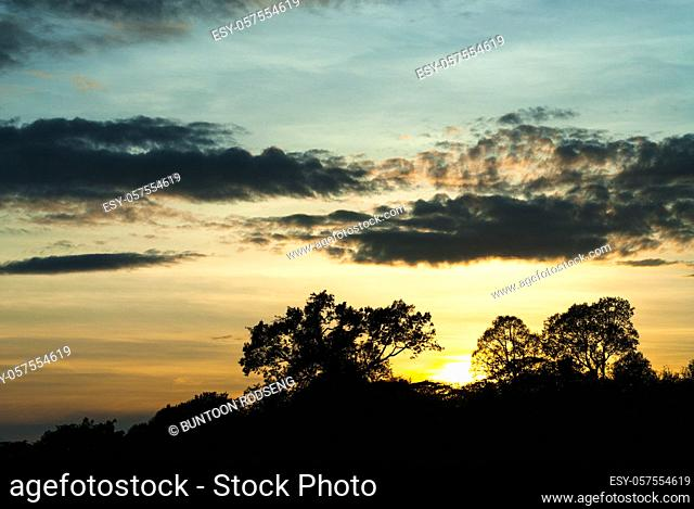 Beautiful landscape sunrise nature background Mountains and sky gold color