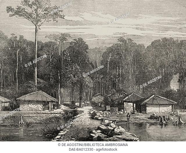Pier in Hope Town, Andaman Islands, India, illustration from the magazine The Illustrated London News, volume LX, February 24, 1872