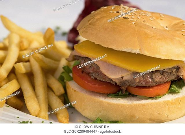 Close-up of a hamburger and french fries