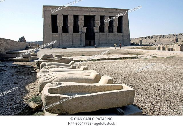 Dendera Egypt, ptolemaic temple dedicated to the goddess Hathor: sarcophagi in the courtyard