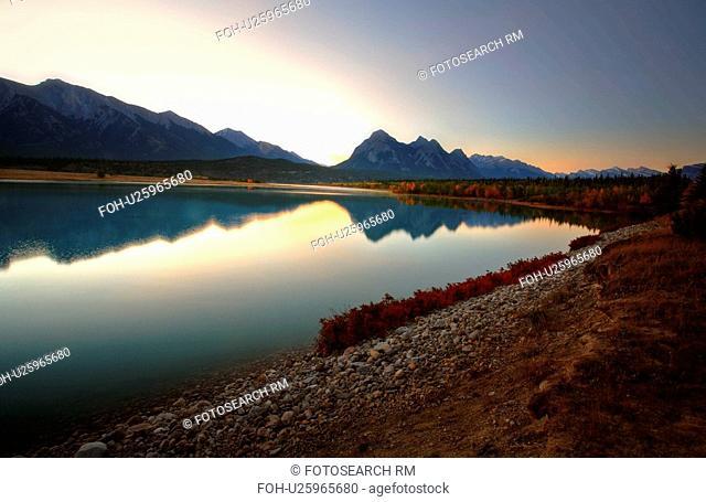 water maligne lake mountains plants autumn pine