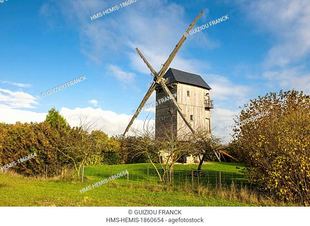 France, Eure et Loir, Moutiers en Beauce, the windmill built in1770