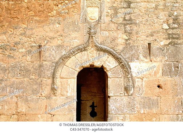 Entrance to tower, Castle of the Counts of Niebla, an old Moorish 'alcázar'. Huelva province, Andalusia, Spain