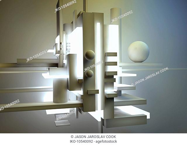 Cream colored abstract three dimensional architectural sculpture