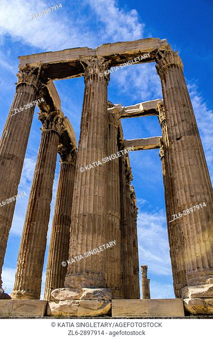 Ruins columns at The remains of the Roman Forum in downtown, Athens Greece on a blue sky and sunny fall day