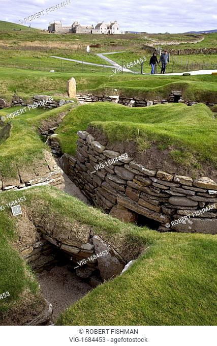 Excavation of Skara Brae the stone-built Neolithic settlement, located on the Bay of Skaill on the west coast of Mainland, Orkney