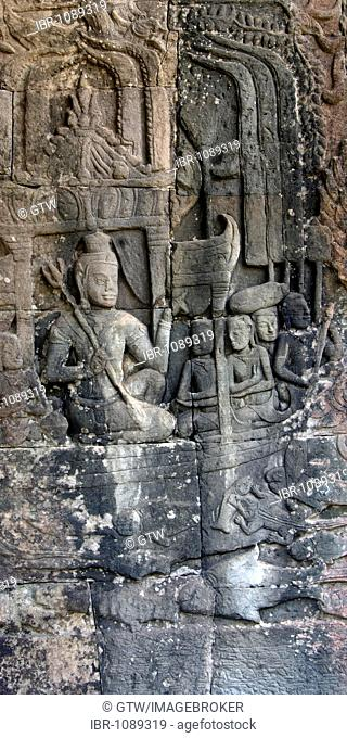 Bas relief, North gallery, Bayon Temple, Angkor Thom, UNESCO World Heritage Site, Siem Reap, Cambodia