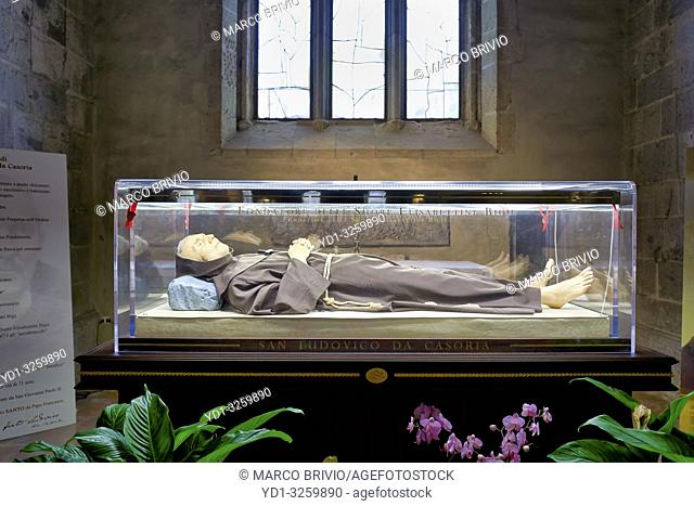 Naples Campania Italy. The body of Saint (San) Ludovica da Casoria inside tha basilica church of Santa Chiara