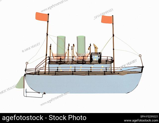 Ship with two flags, X-ray
