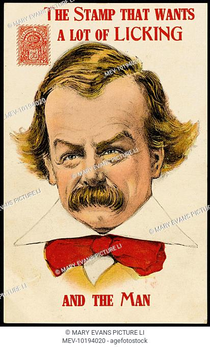 DAVID LLOYD GEORGE depicted as responsible for introducing unemployment insurance, requiring the licking of stamps