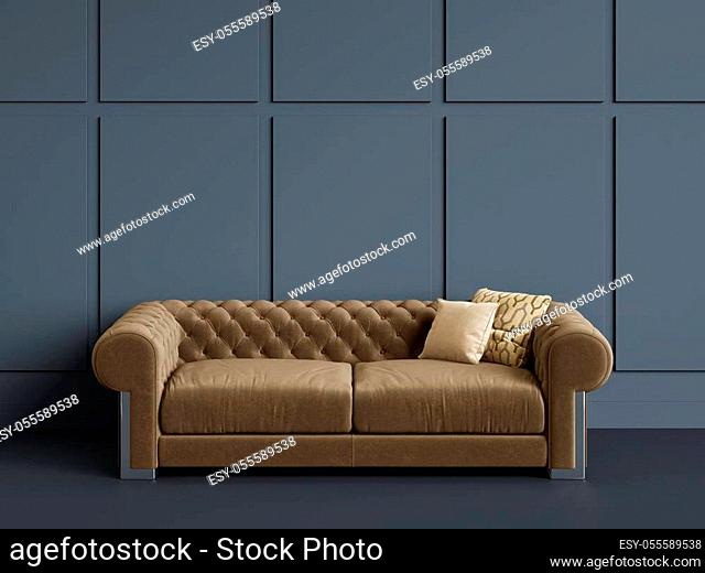Classic tufted sofa in empty room with blue walls. Digital Illustration. 3d rendering. Minimal concept