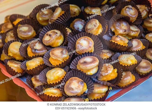 Princesitas de Asturias cakes in pastry shop in Oviedo, Asturias region in Spain
