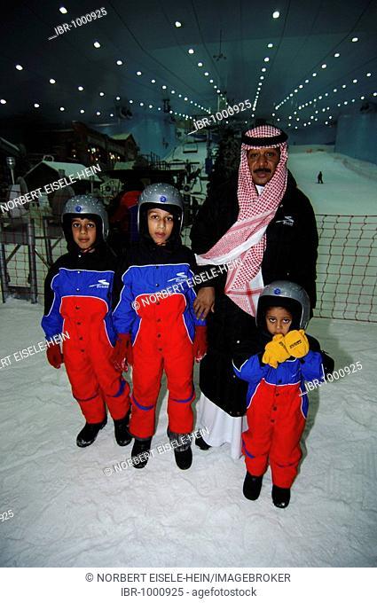 Visitors to the skiing hall, Ski Dubai, Dubai, United Arab Emirates, Middle East