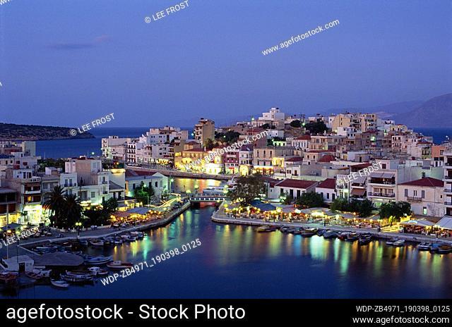 Harbour at Night Greek Islands Crete Agios Nikolaos