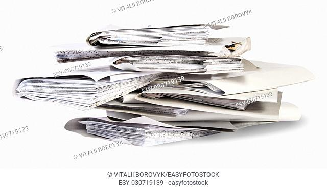 Pile of files in chaotic order isolated on white background