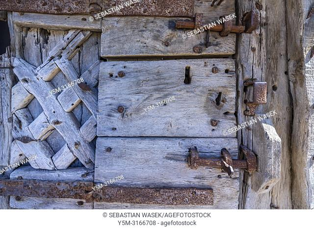 Twelfth century wooden door at Chepstow Castle, Monmouthshire, Wales, United Kingdom, Europe