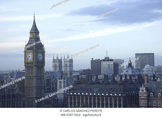 Great Britain, England, London, city-opinion, Big Ben, no property release, Europe, city, city, capital, sight, buildings, landmarks, tower, clock-tower, belfry