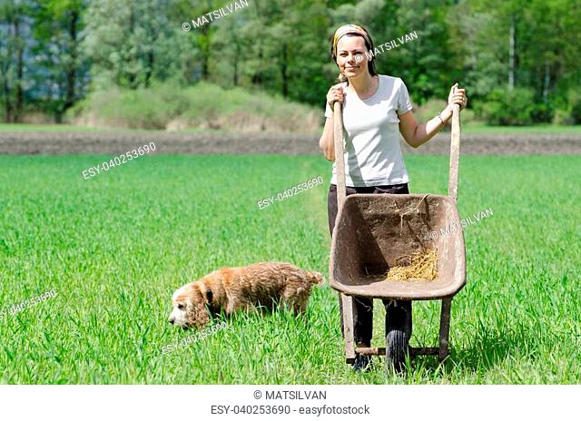 Woman with a wheelbarrow on the green field with grass and a dog