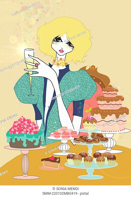 Young woman with champagne and sweets