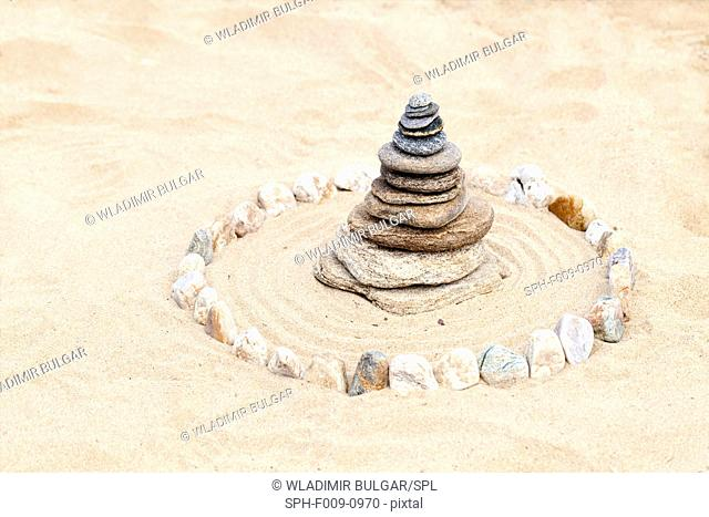 Pile of stones on the sand