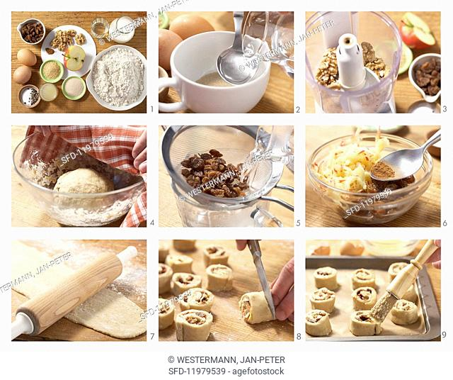 Raisin buns being made