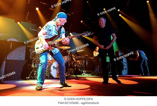 Singer Ian Gillan (R) and bassist Roger Glover from the British band Deep Purple stand on stage in Munich, Germany, 19 July 2016