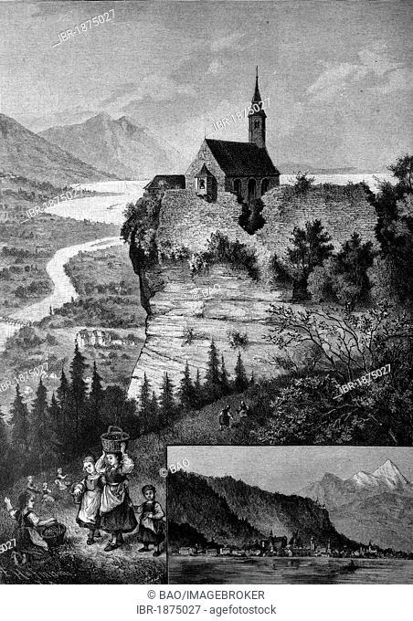 Pilgrimage chapel on Gebhardsberg mountain near Bregenz, historical illustration, about 1886, Vorarlberg, Austria, Europe