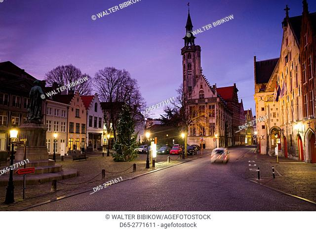Belgium, Bruges, Jan van Eyck Square, dawn