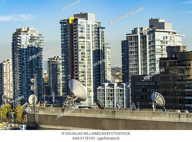 communications equipment on top of the CBC building in downtown Vancouver, BC, Canada