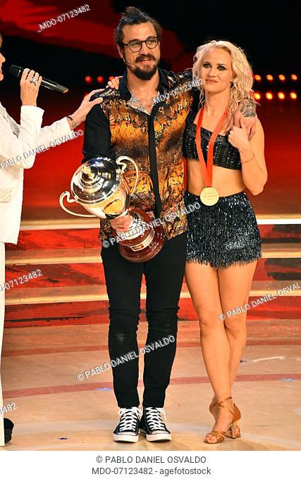 Former Argentinian footballer Daniel Pablo Osvaldo with his dance teacher Veera Kinnunen third finishers during the final episode of the show Ballando Con Le...