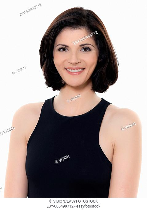 one beautiful smiling caucasian woman portrait in studio isolated on white background