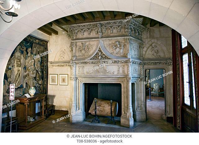 Fireplace at Château de Chaumont, Chaumont-sur-Loire. Loir-et-Cher, France