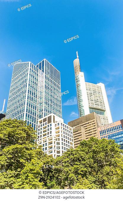 highrise buildings in the finacial district nof frankfurt, frankfurt/main, hesse, germany