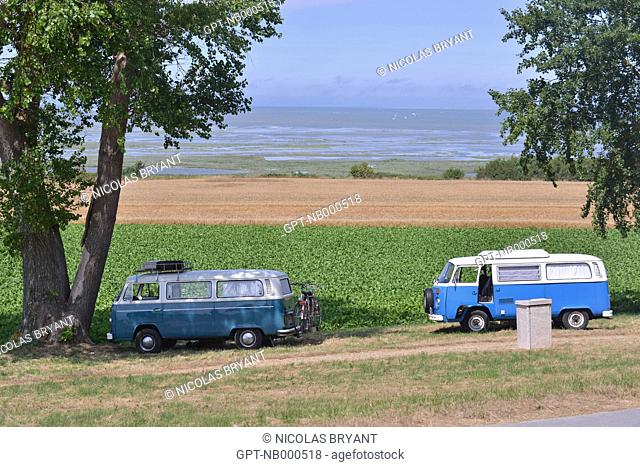 TWO VOLKSWAGEN KOMBIS ON CAPE HORNU, SOMME (80), PICARDIE, FRANCE
