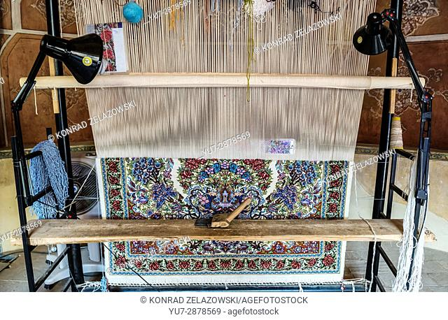 Carpet loom in traditional Persian historic house called Ameri House, built during the Zand era for governor Agha Ameri in Kashan, Iran