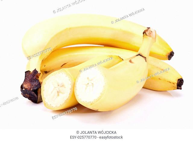 group of fresh fruits of yellow banana isolated on white background