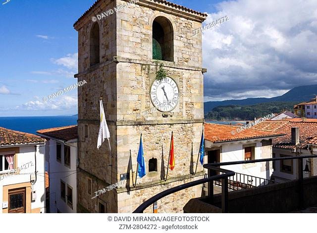 Torre del Reloj Tower, Lastres village. Asturias. Spain. Historical Heritage Site