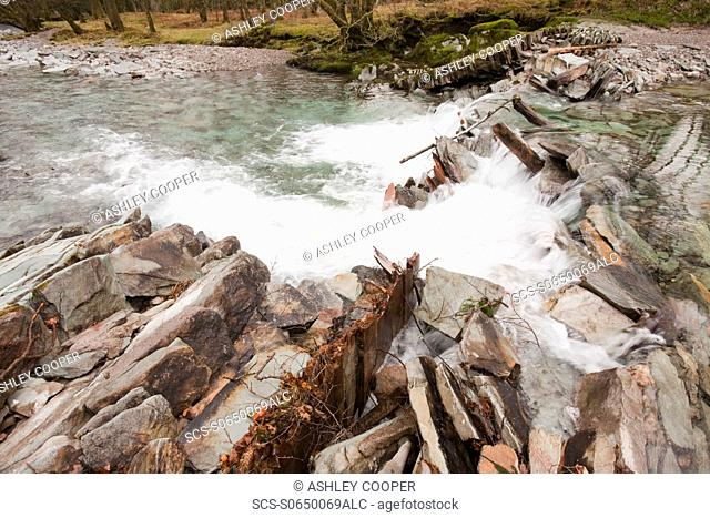 A weir on the River Brathay in Langdale at Elterwater in the Lake District, that was destroyed by the floods that devastated Cumbria in November 2009