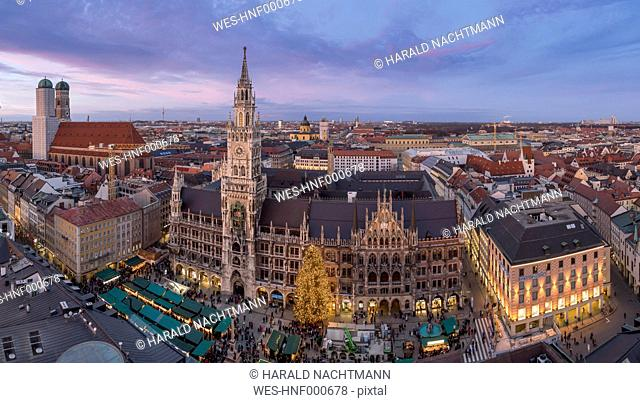 Germany, Munich, Christmas market at townhall square in the evening