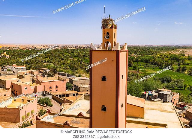 Minaret of the mosque. Kasbah of Tifoultoute. Ouarzazate, Drâa-Tafilalet, Morocco, North Africa
