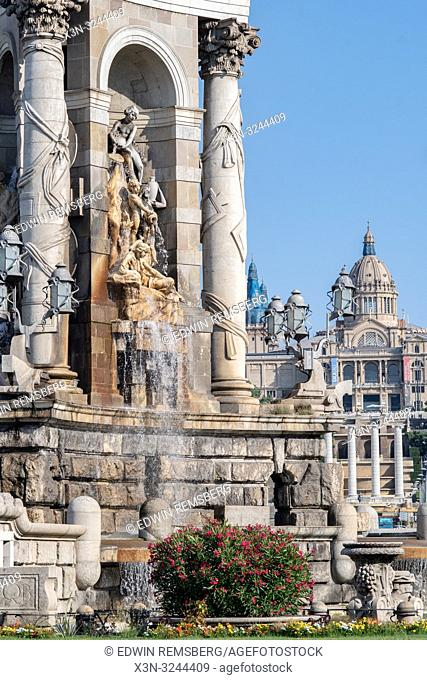 Beautiful sculptures creating a fountain in Plaza de Espana in Barcelona, Spain