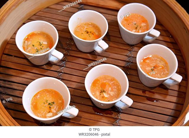 Soup in the food steamer
