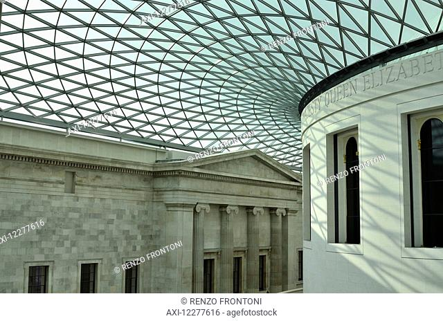 British Museum, Queen Elizabeth II Great Court and glass roof plus Reading room; London, England